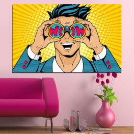 Рисунка, Изкуство, Графичен, Комикс, Мъж, Анимационни хора » Син, Жълт, Оранжев, Черен, Бежов