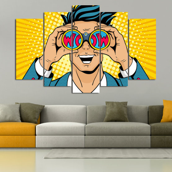 Canvas prints & wall decorative panels - 5 pieces №0805 » Blue, Yellow, Orange, Black, Beige » Drawing, Art, Graphic, Cartoon, Man, Cartoon people Form #1