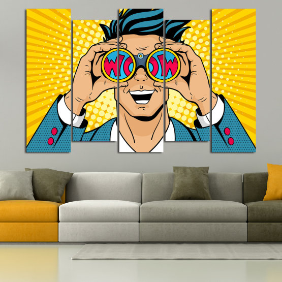 Canvas prints & wall decorative panels - 5 pieces №0805 » Blue, Yellow, Orange, Black, Beige » Drawing, Art, Graphic, Cartoon, Man, Cartoon people Form #3