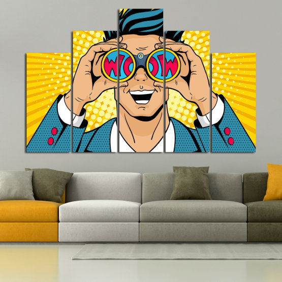 Canvas prints & wall decorative panels - 5 pieces №0805 » Blue, Yellow, Orange, Black, Beige » Drawing, Art, Graphic, Cartoon, Man, Cartoon people Form #5