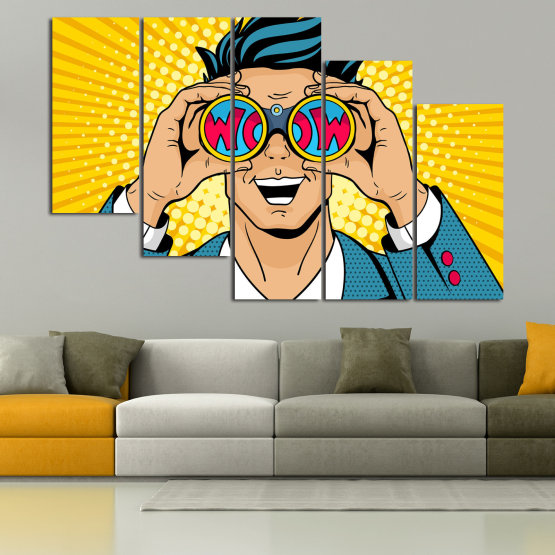 Canvas prints & wall decorative panels - 5 pieces №0805 » Blue, Yellow, Orange, Black, Beige » Drawing, Art, Graphic, Cartoon, Man, Cartoon people Form #7