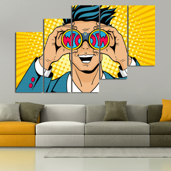 Canvas prints & wall decorative panels - 5 pieces №0805 » Blue, Yellow, Orange, Black, Beige » Drawing, Art, Graphic, Cartoon, Man, Cartoon people Form #8