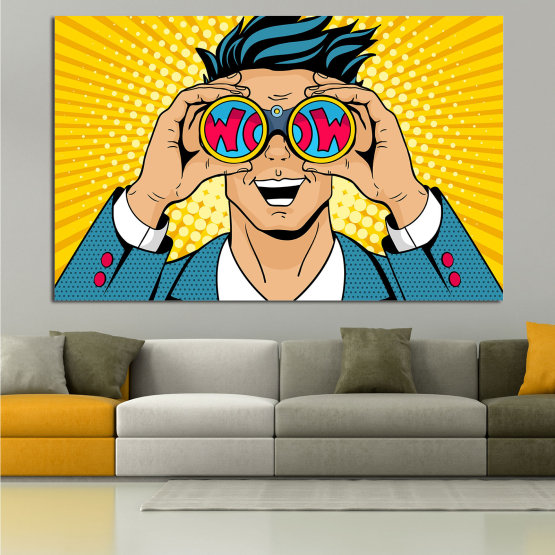 Canvas prints & wall decorative panels - 1 piece №0805 » Blue, Yellow, Orange, Black, Beige » Drawing, Art, Graphic, Cartoon, Man, Cartoon people Form #1