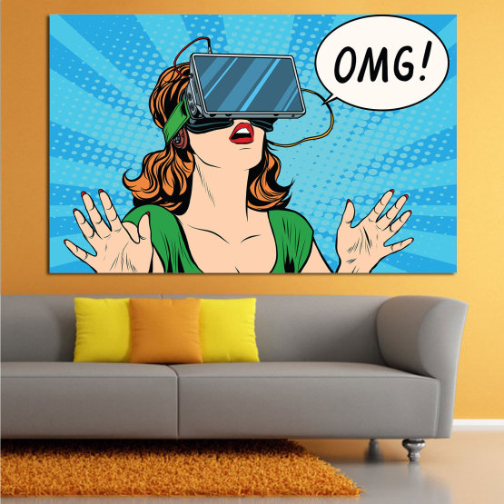 Canvas prints & wall decorative panels - 1 piece №0806 » Blue, Turquoise, Green, Black, White, Beige » Art, Graphic, Cartoon, Design, Face, Comic Form #1