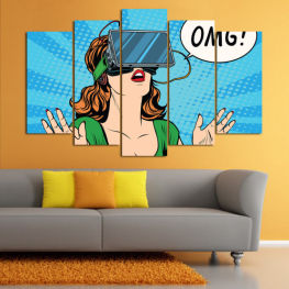 Art, Graphic, Cartoon, Design, Comic, Face » Blue, Turquoise, Green, Black, White, Beige