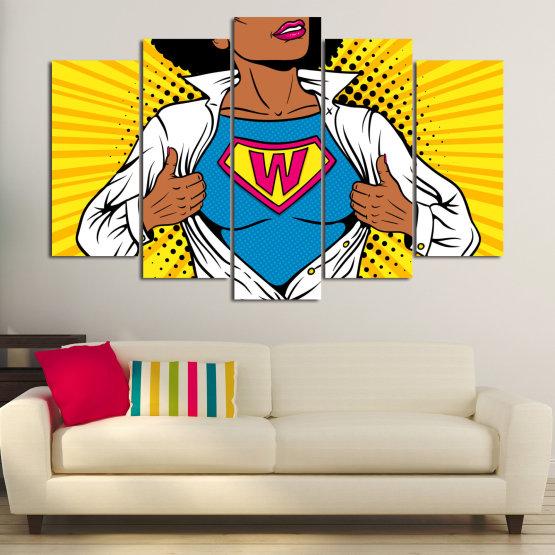 Canvas prints & wall decorative panels - 5 pieces №0807 » Pink, Yellow, Orange, Black, White » Drawing, Art, Graphic, Cartoon, Cartoon people Form #1