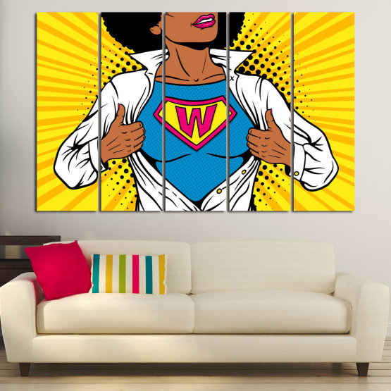 Canvas prints & wall decorative panels - 5 pieces №0807 » Pink, Yellow, Orange, Black, White » Drawing, Art, Graphic, Cartoon, Cartoon people Form #2