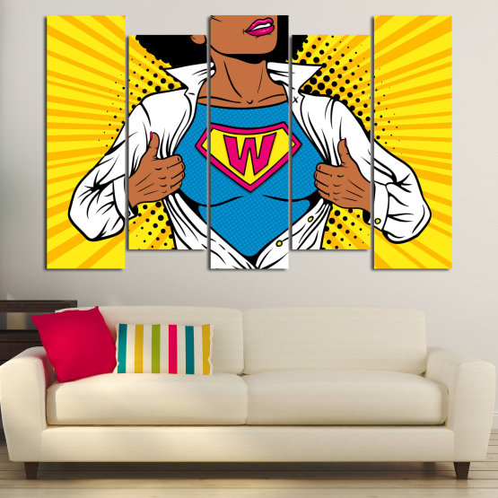 Canvas prints & wall decorative panels - 5 pieces №0807 » Pink, Yellow, Orange, Black, White » Drawing, Art, Graphic, Cartoon, Cartoon people Form #3