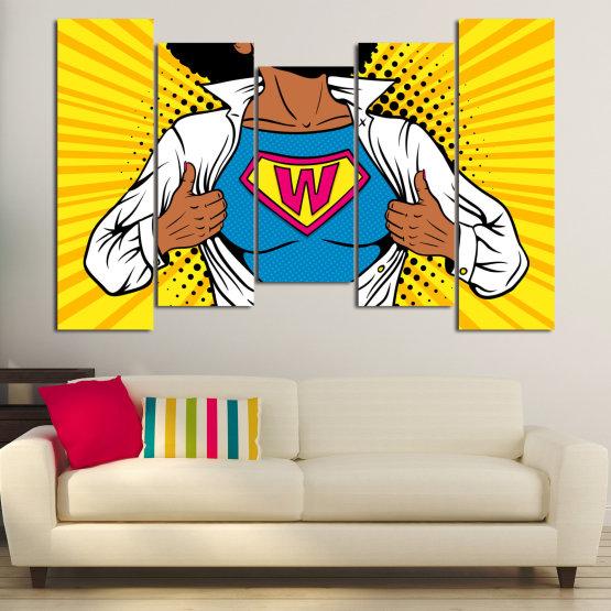 Canvas prints & wall decorative panels - 5 pieces №0807 » Pink, Yellow, Orange, Black, White » Drawing, Art, Graphic, Cartoon, Cartoon people Form #4