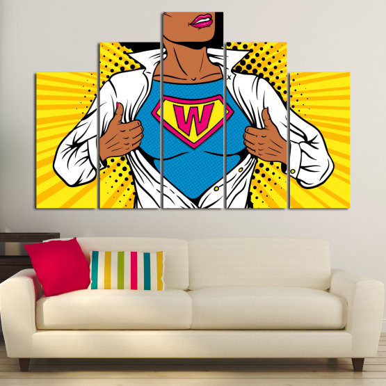 Canvas prints & wall decorative panels - 5 pieces №0807 » Pink, Yellow, Orange, Black, White » Drawing, Art, Graphic, Cartoon, Cartoon people Form #5