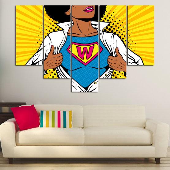 Canvas prints & wall decorative panels - 5 pieces №0807 » Pink, Yellow, Orange, Black, White » Drawing, Art, Graphic, Cartoon, Cartoon people Form #6