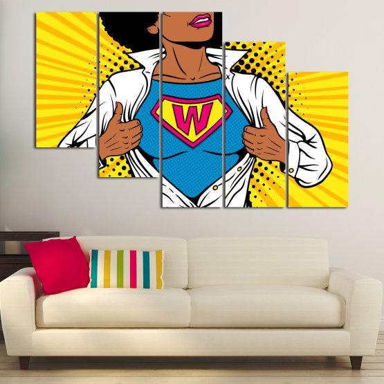 Canvas prints & wall decorative panels - 5 pieces №0807 » Pink, Yellow, Orange, Black, White » Drawing, Art, Graphic, Cartoon, Cartoon people Form #7