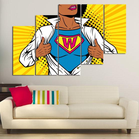 Canvas prints & wall decorative panels - 5 pieces №0807 » Pink, Yellow, Orange, Black, White » Drawing, Art, Graphic, Cartoon, Cartoon people Form #8