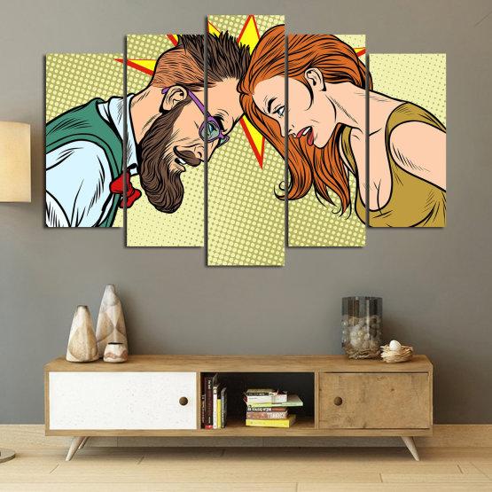 Canvas prints & wall decorative panels - 5 pieces №0809 » Green, Orange, Black, White, Beige » Art, Retro, Fashion, Hair, Graphic, Cartoon, Design, People, Style, Face, Haircut Form #1