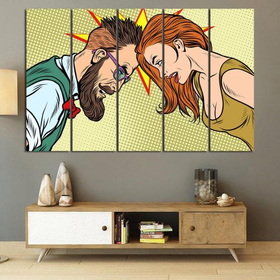 Canvas prints & wall decorative panels - 5 pieces №0809 » Green, Orange, Black, White, Beige » Art, Retro, Fashion, Hair, Graphic, Cartoon, Design, People, Style, Face, Haircut Form #2