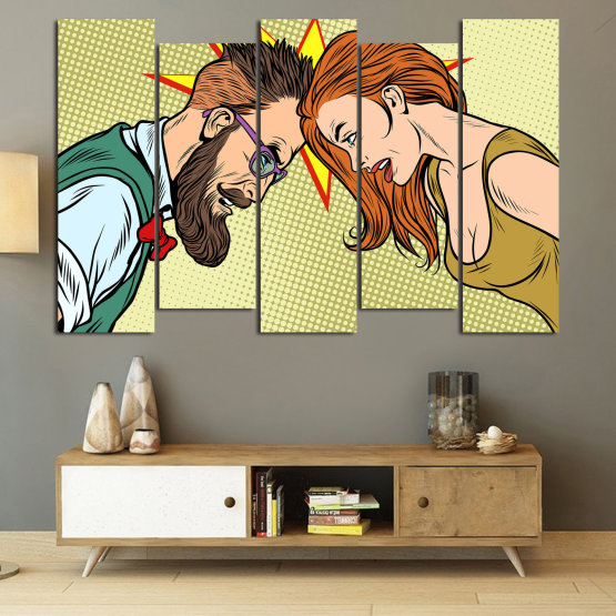 Canvas prints & wall decorative panels - 5 pieces №0809 » Green, Orange, Black, White, Beige » Art, Retro, Fashion, Hair, Graphic, Cartoon, Design, People, Style, Face, Haircut Form #3