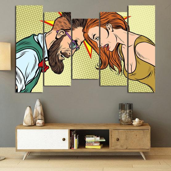 Canvas prints & wall decorative panels - 5 pieces №0809 » Green, Orange, Black, White, Beige » Art, Retro, Fashion, Hair, Graphic, Cartoon, Design, People, Style, Face, Haircut Form #4