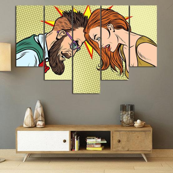 Canvas prints & wall decorative panels - 5 pieces №0809 » Green, Orange, Black, White, Beige » Art, Retro, Fashion, Hair, Graphic, Cartoon, Design, People, Style, Face, Haircut Form #6