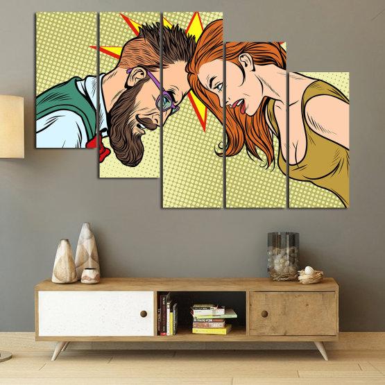 Canvas prints & wall decorative panels - 5 pieces №0809 » Green, Orange, Black, White, Beige » Art, Retro, Fashion, Hair, Graphic, Cartoon, Design, People, Style, Face, Haircut Form #7