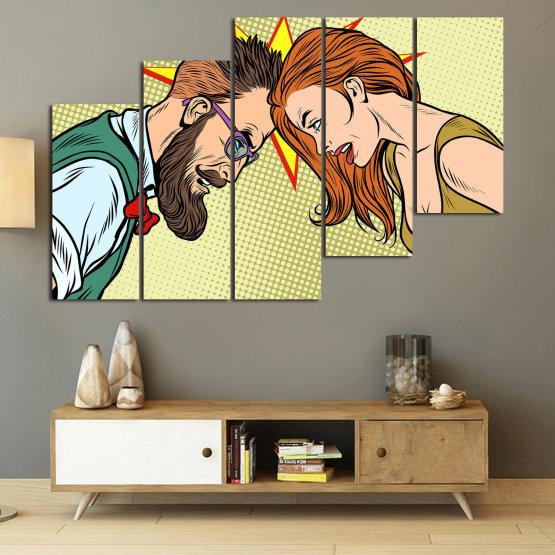 Canvas prints & wall decorative panels - 5 pieces №0809 » Green, Orange, Black, White, Beige » Art, Retro, Fashion, Hair, Graphic, Cartoon, Design, People, Style, Face, Haircut Form #8