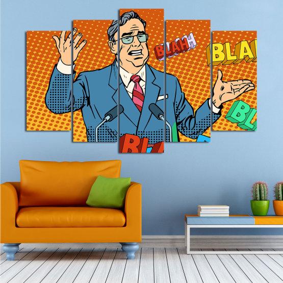 Декоративни панели и картини от канава - от 5 части №0810 » Червен, Син, Жълт, Оранжев, Черен » Изкуство, Графичен, Комикс, Дизайн, Мъж, , , , ,  Form #1