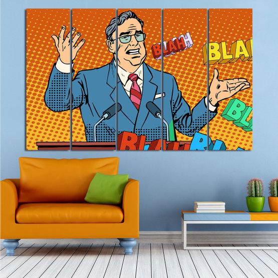 Декоративни панели и картини от канава - от 5 части №0810 » Червен, Син, Жълт, Оранжев, Черен » Изкуство, Графичен, Комикс, Дизайн, Мъж, , , , ,  Form #2