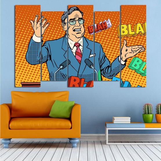 Декоративни панели и картини от канава - от 5 части №0810 » Червен, Син, Жълт, Оранжев, Черен » Изкуство, Графичен, Комикс, Дизайн, Мъж, , , , ,  Form #3