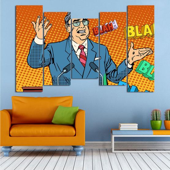Декоративни панели и картини от канава - от 5 части №0810 » Червен, Син, Жълт, Оранжев, Черен » Изкуство, Графичен, Комикс, Дизайн, Мъж, , , , ,  Form #4