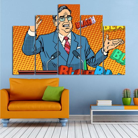 Декоративни панели и картини от канава - от 5 части №0810 » Червен, Син, Жълт, Оранжев, Черен » Изкуство, Графичен, Комикс, Дизайн, Мъж, , , , ,  Form #5