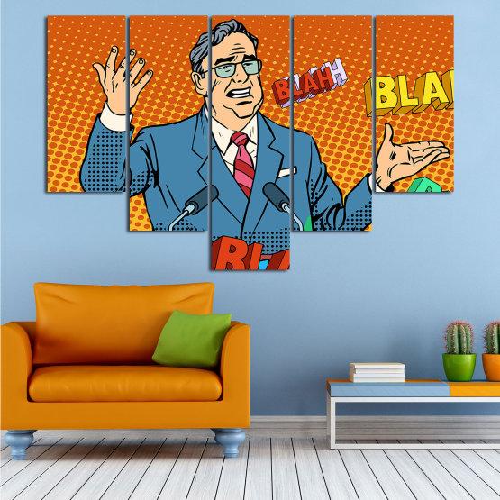 Декоративни панели и картини от канава - от 5 части №0810 » Червен, Син, Жълт, Оранжев, Черен » Изкуство, Графичен, Комикс, Дизайн, Мъж, , , , ,  Form #6