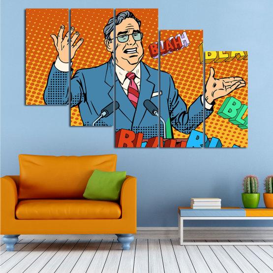 Декоративни панели и картини от канава - от 5 части №0810 » Червен, Син, Жълт, Оранжев, Черен » Изкуство, Графичен, Комикс, Дизайн, Мъж, , , , ,  Form #7