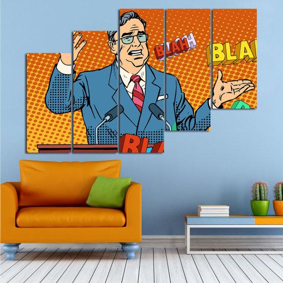 Декоративни панели и картини от канава - от 5 части №0810 » Червен, Син, Жълт, Оранжев, Черен » Изкуство, Графичен, Комикс, Дизайн, Мъж, , , , ,  Form #8