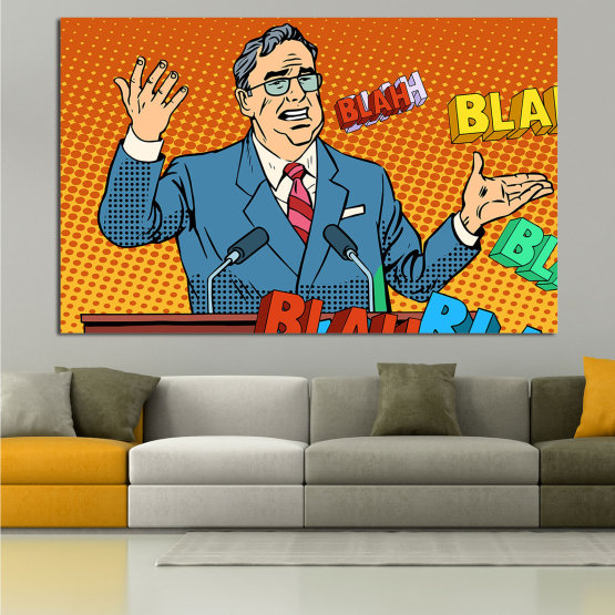 Canvas prints & wall decorative panels - 1 piece №0810 » Red, Blue, Yellow, Orange, Black » Art, Graphic, Cartoon, Design, Man, Cartoon people, Comic book, Comics, Profession, Humor Form #1
