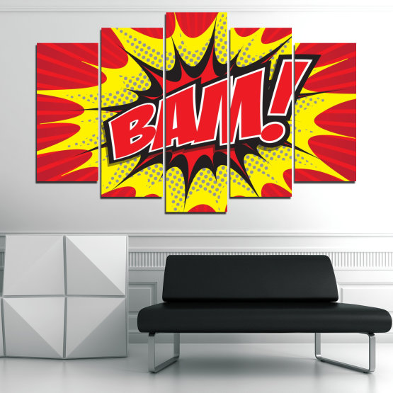 Canvas prints & wall decorative panels - 5 pieces №0812 » Red, Yellow, Black, Gray, White » Light, Graphic, Cartoon, Design, Poster, Explosion, Dynamic, Ray Form #1
