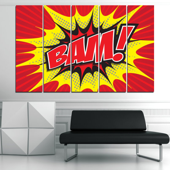 Canvas prints & wall decorative panels - 5 pieces №0812 » Red, Yellow, Black, Gray, White » Light, Graphic, Cartoon, Design, Poster, Explosion, Dynamic, Ray Form #2
