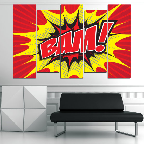 Canvas prints & wall decorative panels - 5 pieces №0812 » Red, Yellow, Black, Gray, White » Light, Graphic, Cartoon, Design, Poster, Explosion, Dynamic, Ray Form #3