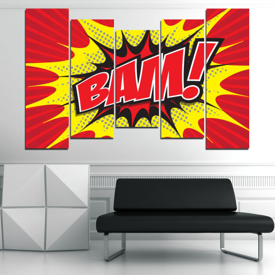 Canvas prints & wall decorative panels - 5 pieces №0812 » Red, Yellow, Black, Gray, White » Light, Graphic, Cartoon, Design, Poster, Explosion, Dynamic, Ray Form #4