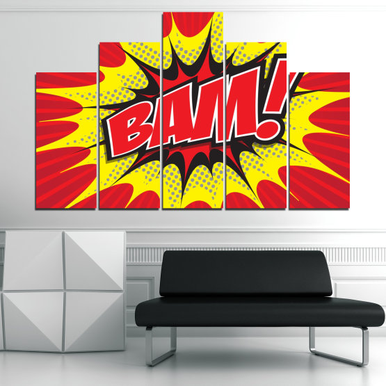 Canvas prints & wall decorative panels - 5 pieces №0812 » Red, Yellow, Black, Gray, White » Light, Graphic, Cartoon, Design, Poster, Explosion, Dynamic, Ray Form #5