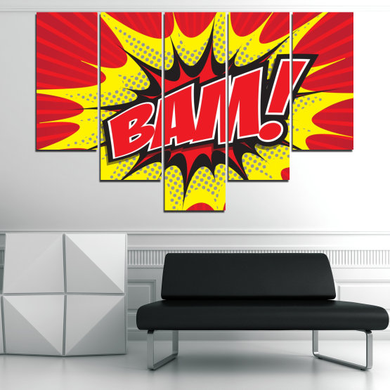 Canvas prints & wall decorative panels - 5 pieces №0812 » Red, Yellow, Black, Gray, White » Light, Graphic, Cartoon, Design, Poster, Explosion, Dynamic, Ray Form #6