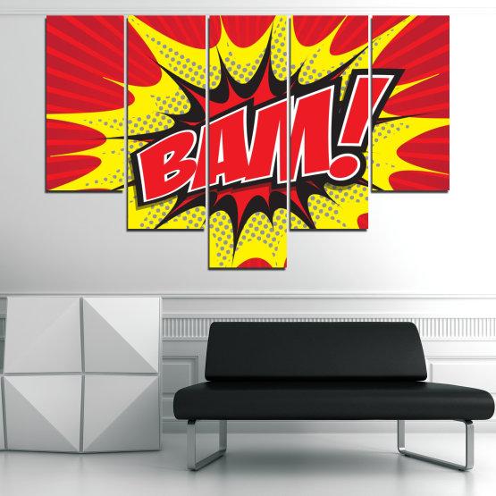 Декоративни панели и картини от канава - от 5 части №0812 » Червен, Жълт, Черен, Сив, Бял » Светлина, Графичен, Комикс, Дизайн, Постер, Експлозия, Динамичен, Лъч Form #6