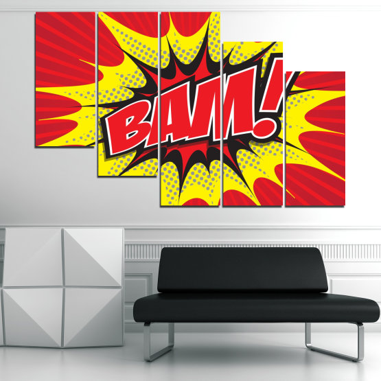 Canvas prints & wall decorative panels - 5 pieces №0812 » Red, Yellow, Black, Gray, White » Light, Graphic, Cartoon, Design, Poster, Explosion, Dynamic, Ray Form #7