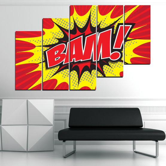 Canvas prints & wall decorative panels - 5 pieces №0812 » Red, Yellow, Black, Gray, White » Light, Graphic, Cartoon, Design, Poster, Explosion, Dynamic, Ray Form #8