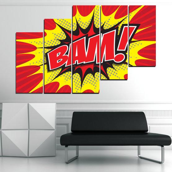 Декоративни панели и картини от канава - от 5 части №0812 » Червен, Жълт, Черен, Сив, Бял » Светлина, Графичен, Комикс, Дизайн, Постер, Експлозия, Динамичен, Лъч Form #8