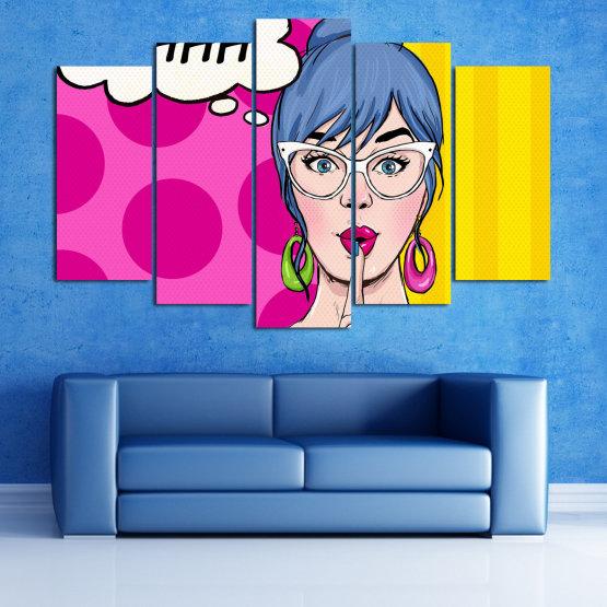 Canvas prints & wall decorative panels - 5 pieces №0813 » Pink, Yellow, Black, White, Beige » Fashion, Graphic, Cartoon, Design, Cartoon people, Face, Comics Form #1