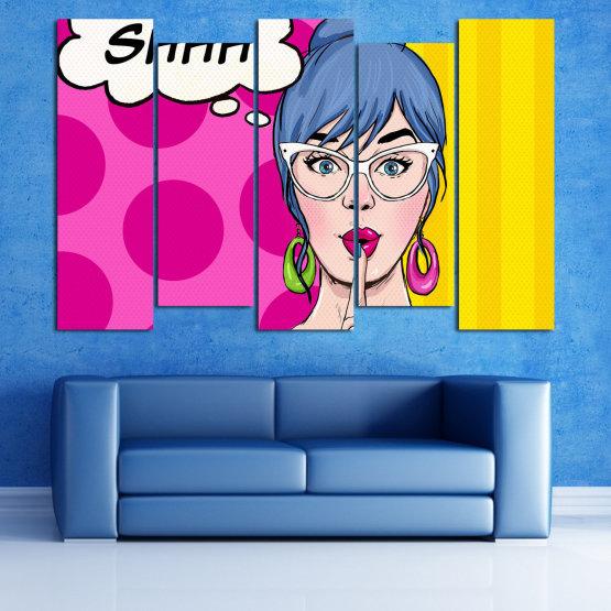 Canvas prints & wall decorative panels - 5 pieces №0813 » Pink, Yellow, Black, White, Beige » Fashion, Graphic, Cartoon, Design, Cartoon people, Face, Comics Form #3