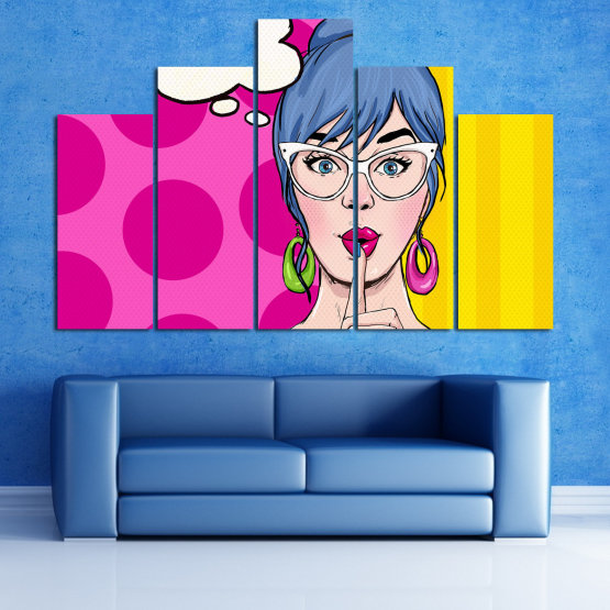 Canvas prints & wall decorative panels - 5 pieces №0813 » Pink, Yellow, Black, White, Beige » Fashion, Graphic, Cartoon, Design, Cartoon people, Face, Comics Form #5
