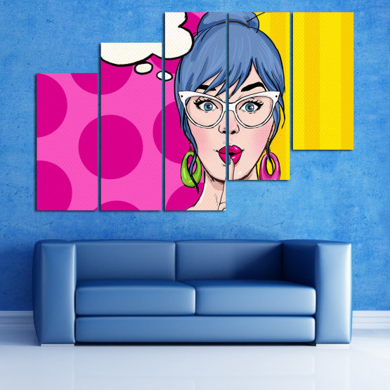 Canvas prints & wall decorative panels - 5 pieces №0813 » Pink, Yellow, Black, White, Beige » Fashion, Graphic, Cartoon, Design, Cartoon people, Face, Comics Form #8