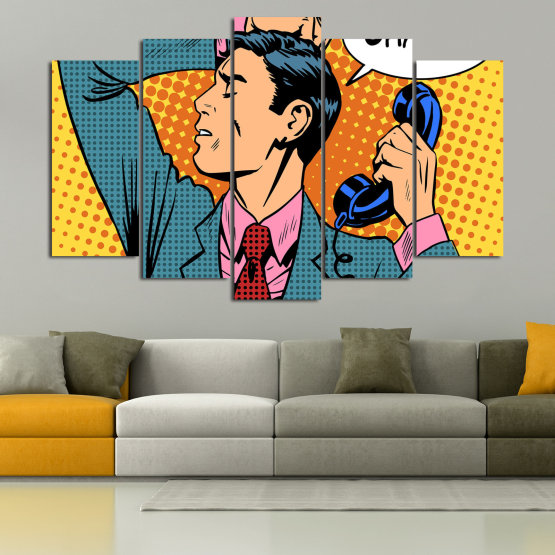 Canvas prints & wall decorative panels - 5 pieces №0814 » Turquoise, Yellow, Orange, Black, Beige » Fashion, Graphic, Cartoon, Design, Man, Style, Cartoon people, Face, Comic book Form #1