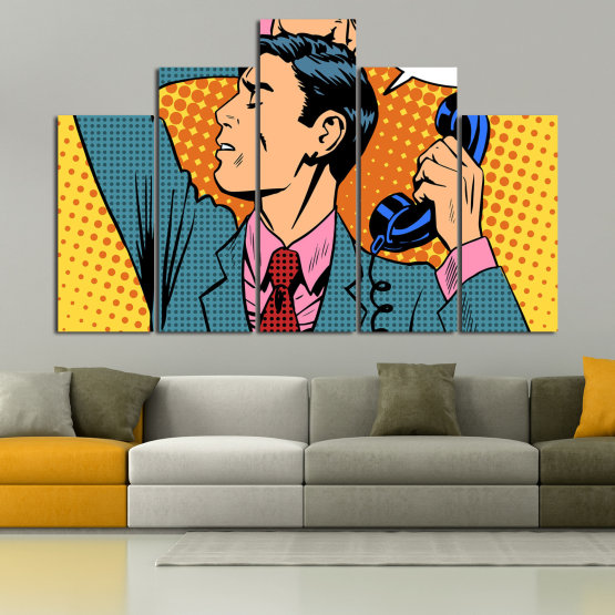 Canvas prints & wall decorative panels - 5 pieces №0814 » Turquoise, Yellow, Orange, Black, Beige » Fashion, Graphic, Cartoon, Design, Man, Style, Cartoon people, Face, Comic book Form #5