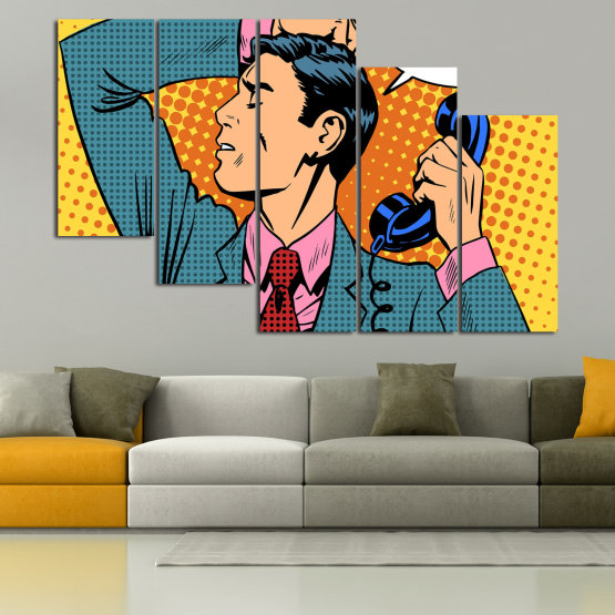 Canvas prints & wall decorative panels - 5 pieces №0814 » Turquoise, Yellow, Orange, Black, Beige » Fashion, Graphic, Cartoon, Design, Man, Style, Cartoon people, Face, Comic book Form #7